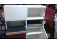 office cupboard ikea Besta with red white door shelve pull out board