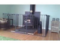 Babydan fireguard/playpen, black, with extra panel, gate, mat & wall fixings. Great condition