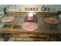 Large bomboo table with glass top