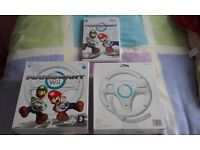 Wii MarioKart Game and 2 x Wii Wheel