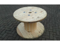 Wooden Reclaimed Industrial Cable Reel/Drum,Table, 90 cm x 58 cm Upcycled/Craft project.