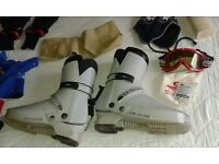 SKI GEAR - including jacket, trousers, boots, goggles, knee braces and other items