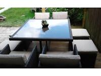 Rattan garden table chairs and footstool