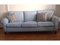 IKEA 3-Seater Sofa for sale upholstered in light blue fabric. Frame sound and really comfortable.