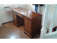 Desk - Solid two pedestal wooden lockable desk with keys - at a bargain price