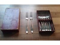 Pickle Forks (Nickle Silver forks x 8) in original card box: