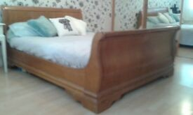 Sleigh bed, King size and light brown