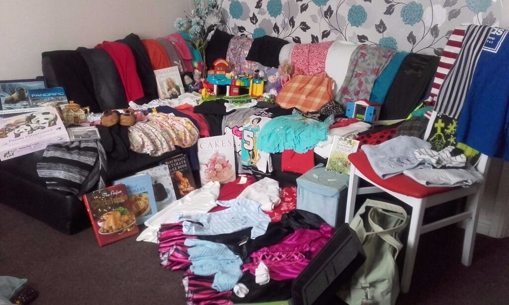 joblotin Wakefield, West YorkshireGumtree - over 100 items inc v tech garage / talking george and peppa pig jigsaws all complete some unopen ladies / mens and childrens clothing other toys barbies etc collectable t pot fancydress wte chair with red leatherette seat mini elephant toy box...