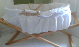 Clair de lune wicker moses basket and wooden mothercare stand in great condition.