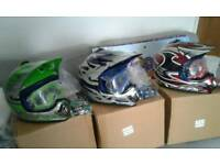 JUNIOR MOTO CROSS HELMET, GOGGLES AND GLOVES,