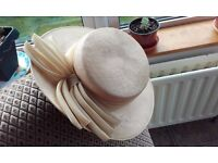 Ladies Connor beige boater hat with bow