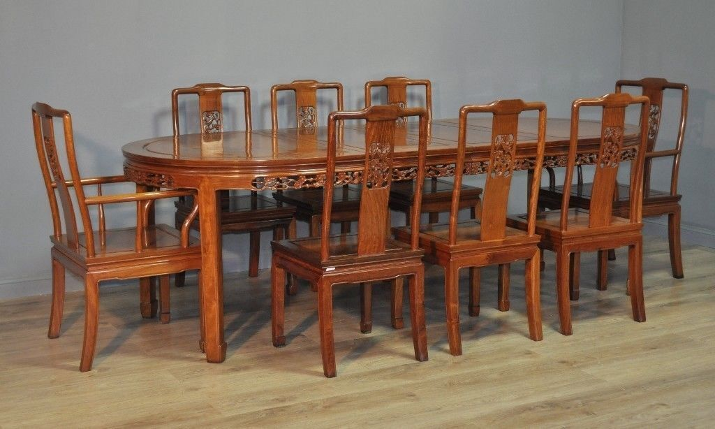 Attractive Large Oriental Carved Extending Dining Table 8 Chairs Carvers
