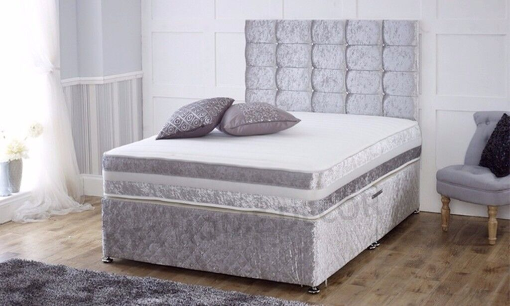 ❋❋ SPECIAL OFFER ❋❋ BRAND NEW ❋❋ CRUSH VELVET DOUBLE DIVAN BED WITH SEMI ORTHOPEDIC MATTRESS