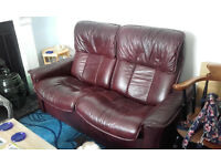 LEATHER SOFA - 2 x seater recliner