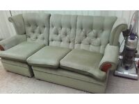 Lovely green comfortable Three Piece Suite. Sofa and two armchairs