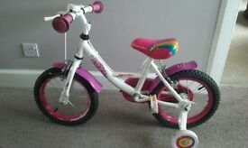 Girl's 14 inch Apollo Pixie Bike with stabilisers