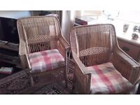 Two Wicker Chairs, handmade, excellent condition, living room or patio.