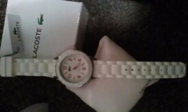 Brand new ladies Lacoste watch. All paperwork,genuine and never been worn. Unwanted gift. Bargain