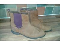 Girls Clarks brown leather boots, size 3
