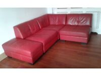 Red leather DFS modular sofa,