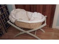 Mothercare Moses basket with a stand, a matress, a fitted sheet, lining and an apron