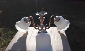 Brass chandelier three arm good shades