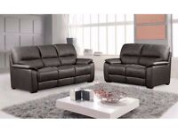 CLEARANCE!!! Brand New 3+2 Real Leather Brown Static Sofa Settee Set