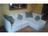 3 Part Cream Corduroy Sofa