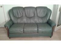 Sage Green Leather 3 Seater Sofa and Chair