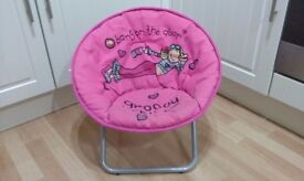 Kids 'bang on the door' Groovy Chick Pink Folding Chair.