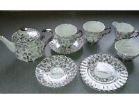'Royal Windsor' Fine Bone China Tea Service with silver gilt 25th Anniversary wording