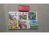 Nintendo 3DS XL Red and Black with 6 games