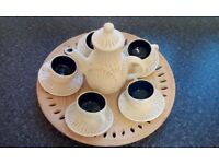 Stone engraved coffee set
