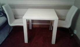 High white gloss dining room table