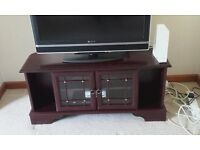 wood veneer TV console table with two glass drawers for sky box etc