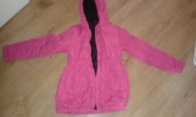 LIKE NEW LIGHT WEIGHT PINK COAT age 10-11 zip up front & 2 pockets + hood REDUCED TODAY - ONLY £3.50