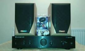 Cambridge audio A1 V3 amplifier with speakers