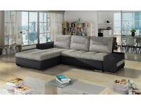 OTTO New Brand L - shape leather & fabric corner sofa bed storage black grey white Narożnik Kanapa