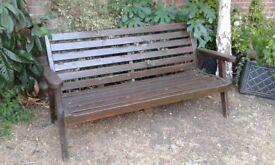 Solid Dark Wood Large Garden Bench