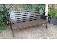 Solid Dark Wood Large Garden Bench