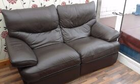 2 Seater Reclining Sofa - Dark Brown Leather - Great Condition