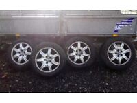 Set of four alloy wheels with decent tyres for Jaguar X type