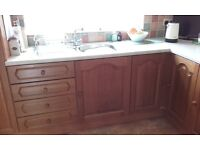 Kitchen units and worktop oak
