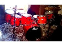 Red Pearl Export 7 (seven) Piece Drum Kit + Cymbals + Hardware case