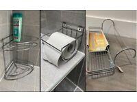 SET of 3 NEW chrome silver steel bathroom fixtures corner rack over bath storage toilet roll