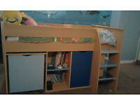 High Quality Sturdy Boy's Mid Sleeper Cabin Storage Single Bed with Pull Out Desk