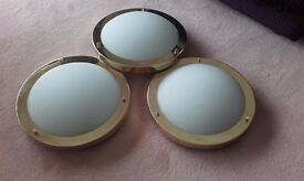 Set of 3 matching flush ceiling lights frosted glass, brass trim