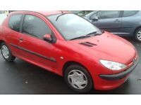 PEUGEOT 206, PETROL, 2005, RED, 3 DOOR, 1.4cc ,MOTED, DRIVES GREAT, CHEAP TO RUN