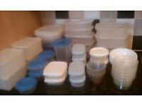Plastic, food storage tubs, over 50 various shapes and sizes