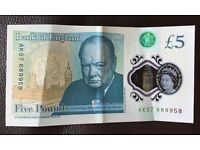 £5 Note Ak57 Seriel Number